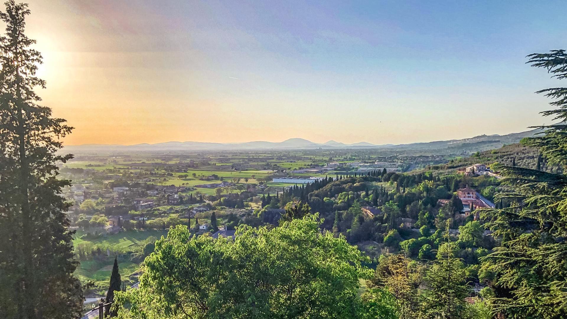 Una vista meravigliosa su tutto il verde delle colline e pianure che la regione Umbria a offire. Sullo sfondo si nascondono alla vista alcuni alti monti baciati dal sole che sta tramontando.