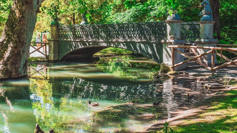 Un piccolo ruscello all'interno del Parco Sempione di Milano con un ponte che fa attraversare le due sponde. Sulla sinistra si intravede la corteccia di un grande albero che rinfresca la zona.