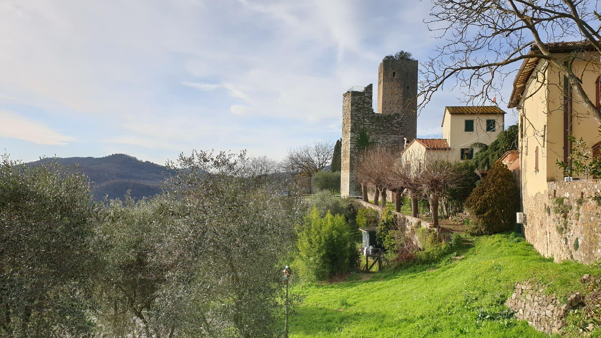 Una vista sui verdi colli della Valdinievole e i suoi olivi. Sulla destra il borgo di Serravalle Pistoiese su cui spicca una vista parziale delle mura e dell'altissima torre della Rocca Nuova.