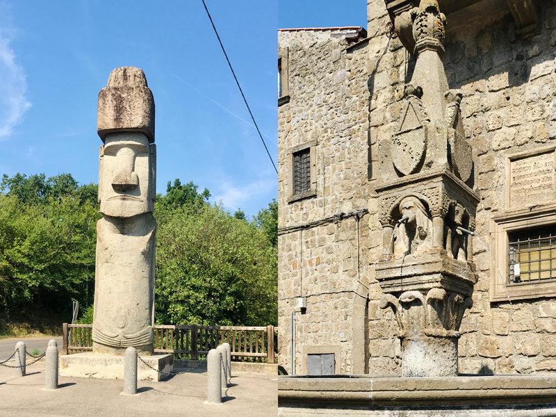 A sinistra la statua Moai che si trova a Vitorchiano in provincia di Viterbo. La statua è fatta in pietra e presenta una faccia poco sorridente. A destra una fontana al fuso che si trova nel borgo.