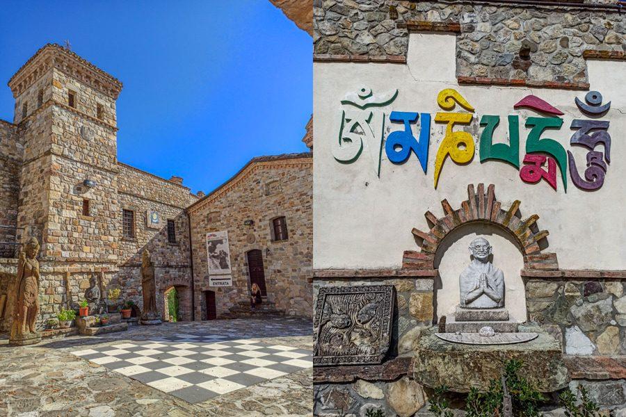 Sulla sinistra la piccola scacchiera al centro del borgo di Votigno di Canossa, contornata da un grande edificio in pietra. A destra la statua di Gandhi con le mani giunte e con sopra una scritta colorata.